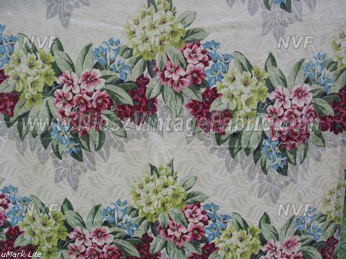 Rhododendrons on Cream Vintage Drapes