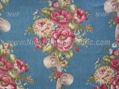 Pink Roses and Scrolls on Blue