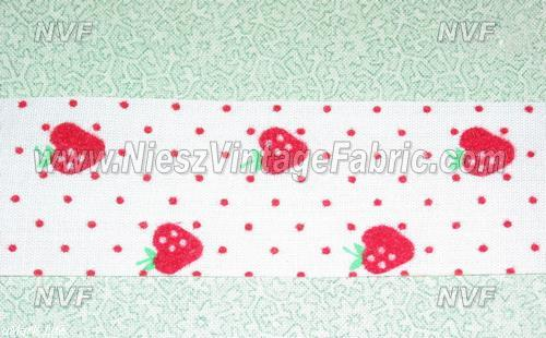 Flocked Red Strawberries Ribbon