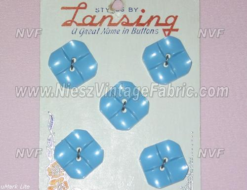 5 Molded Blue Plastic Buttons