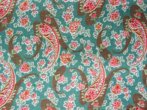 Antique 1880's Green and Pink Paisley