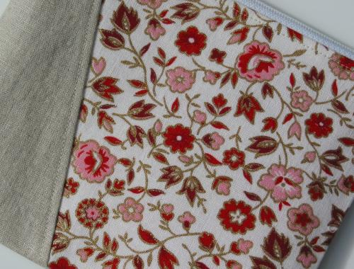 Pink And Red Vintage Fabric Wristlet