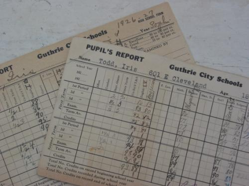 Vintage 1920's School Report Cards