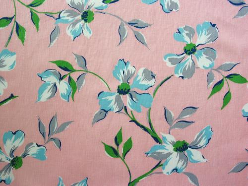 Pink and Blue Dogwood Fabric