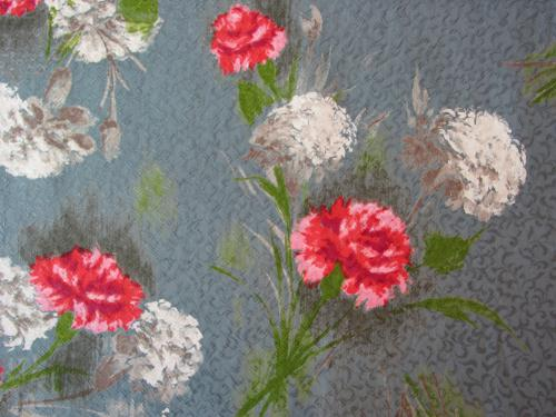 1950-60's Carnations on Gray Dress Fabric