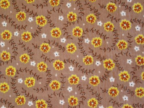 Yellow Daisies on Tan Vintage Fabric
