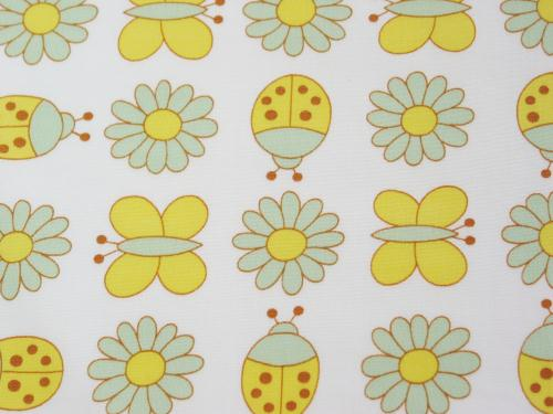 Vintage Daisy Butterfly and Ladybug Fabric