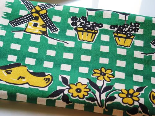 Vintage Dutch Print Kitchen Toweling