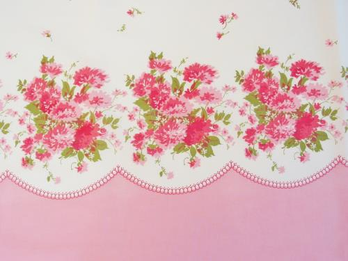 Pink Floral Border Print Fabric