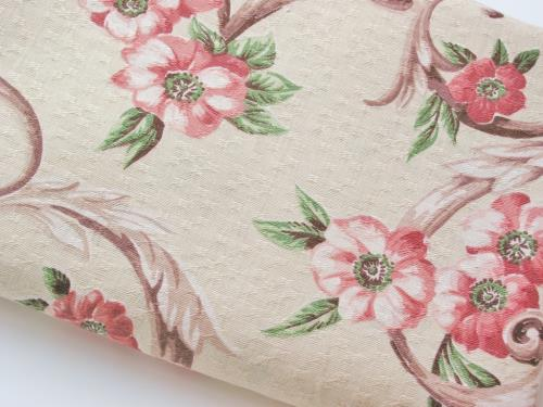 Vintage 40's Floral and Scroll Fabric